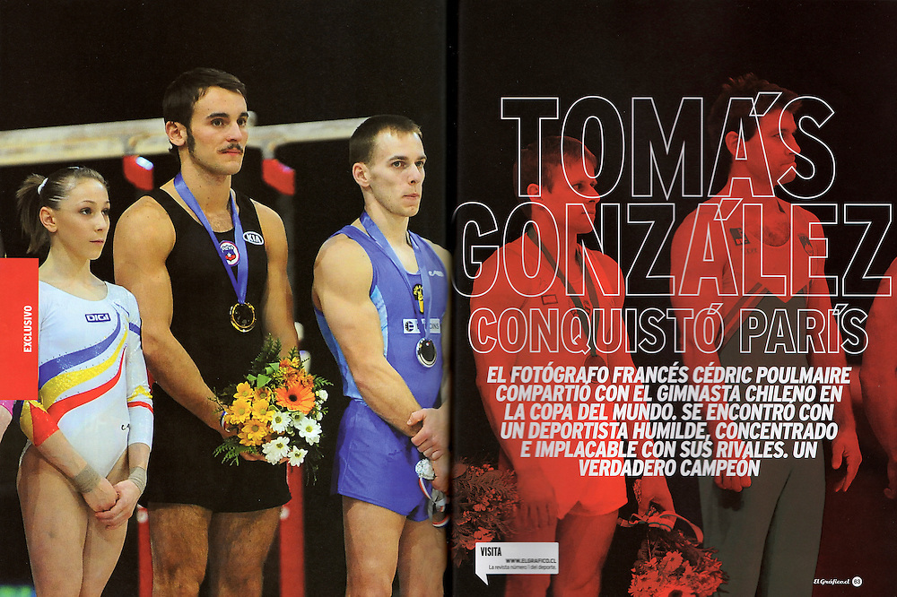 Tomas Gonzalez dans le magazine El Grafico Chile pour un sujet de 5 pages (pages 1-2).