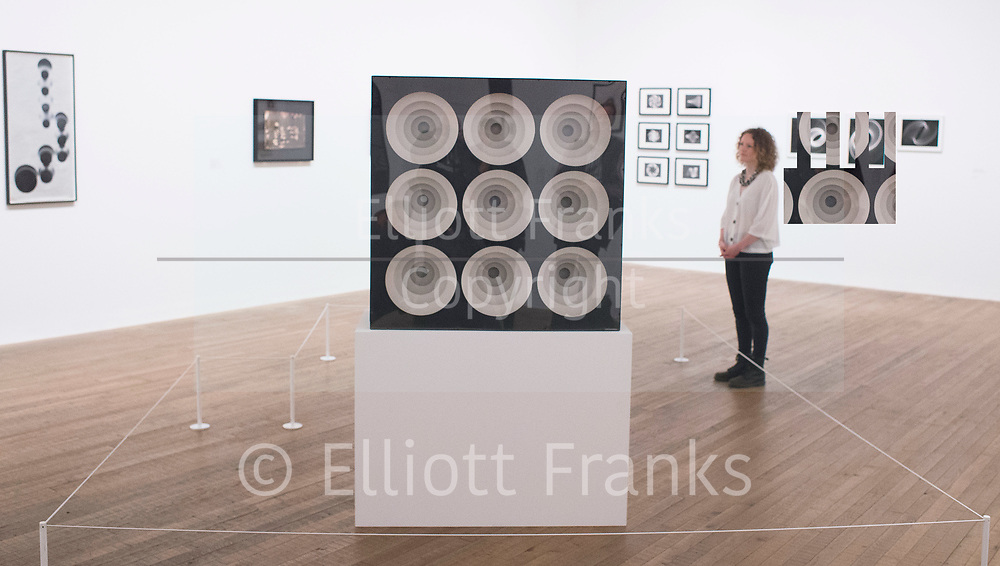 Shape of Light: 100 Years of Photography and Abstract Art <br /> at Tate Modern, Bankside, London SE1 9TG<br /> Press view 30th April 2018 <br /> <br /> Gregorio Vardanega 1923 - 2007 <br /> Espaces chromatiques circulaires 1967 <br /> Light panel <br /> 1000x350mm<br /> Courtesy of Musee d'art moderne de la ville de Paris <br /> <br /> Shape of Light: 100 Years of Photography and Abstract Art will be the first show of this scale to explore photography in relation to the development of abstraction, from the early experiments of the 1910s to the digital innovations of the 21st century. Featuring over 300 works by more than 100 artists including Man Ray, Aaron Siskind, André Kertesz, Bridget Riley and Jackson Pollock, the exhibition will explore the history of abstract photography side-by-side with iconic paintings and sculptures.<br /> <br /> Photograph by Elliott Franks