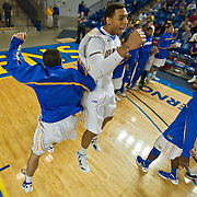 12/03/11 Newark DE: Junior Forward #44 Jamelle Hagins (middle) celebrates with his teammates after Delaware defeated Colonial Athletic Association rival Drexel, Saturday, Dec. 03, 2011 at the Bob carpenter center in Newark Delaware.<br /> <br /> Junior Forward #44 Jamelle Hagins would finish the game with 15 total points, Delaware defeat Drexel 71-60.
