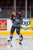 KELOWNA, CANADA - NOVEMBER 1: Kole Lind #16 of the Kelowna Rockets warms up with the puck against the Kamloops Blazers on November 1, 2016 at Prospera Place in Kelowna, British Columbia, Canada.  (Photo by Marissa Baecker/Shoot the Breeze)  *** Local Caption ***