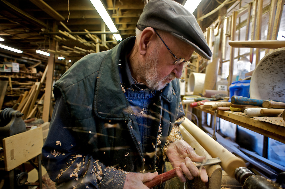Max Woody has been making chairs in his shop for 62 years (2011) in McDowell County, North Carolina.  He saved money as a teenager working in his grandfather's shop to buy his own equipment.  His chair making skills have been noted as far abroad as China.  Max welcomes visitors to his shop and has been hosting Outward Bound groups for years.  Meeting a wide variety of people has been one of the highlights for Max.