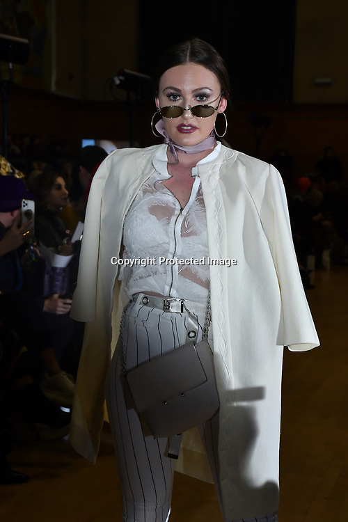 Serena Heidi Masson is a Artess,model,dancer attends The British luxury Womenswear designer, Chanel Joan Elkayam, showcases her Autumn - Winter 2020 show ahead of London Fashion Week on 13 February 2020 at Cecil Sharp House, London, UK.