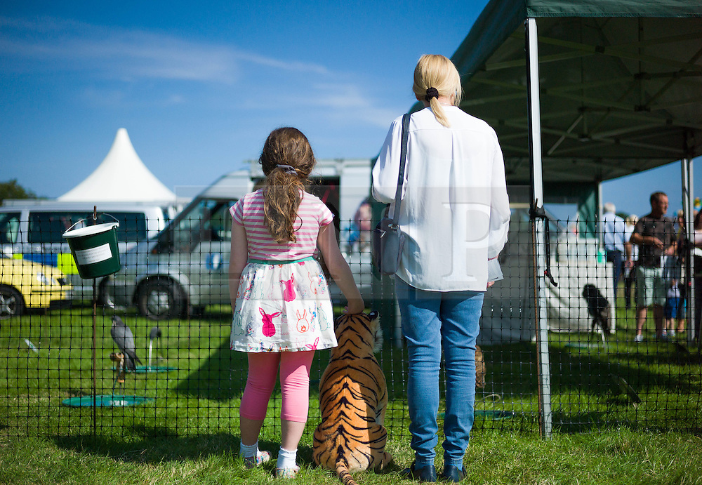 &copy; Licensed to London News Pictures.12/08/15<br /> Danby, UK. <br /> <br /> A mother and daughter stand and look at a display of birds of prey at the 155th Danby Agricultural Show in the Esk Valley in North Yorkshire. <br /> <br /> The popular agricultural show attracts competitors and visitors from all over the surrounding area to this annual showcase of country life. <br /> <br /> Photo credit : Ian Forsyth/LNP