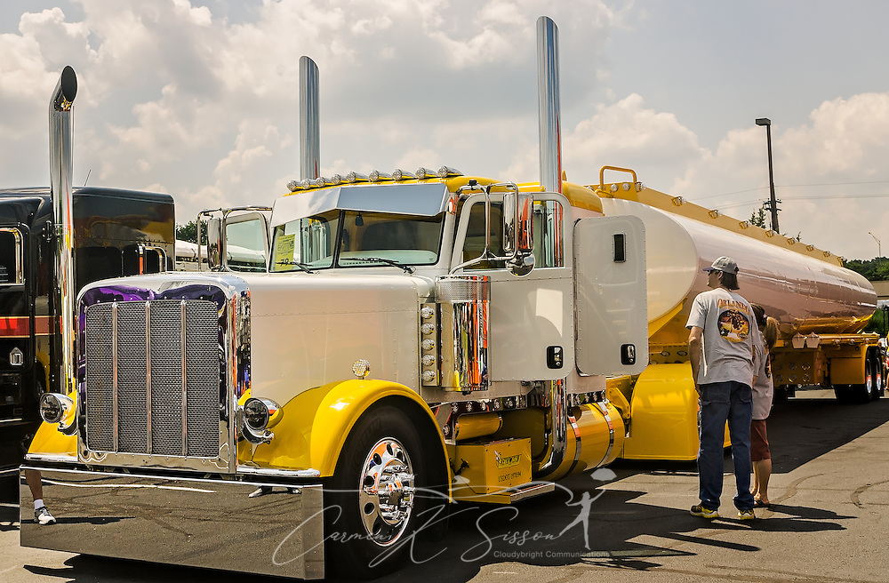 Rethwisch Transportation's 2016 Peterbilt 389 with 2015 Mueller trailer was awarded as a show truck during the 34th annual Shell Rotella SuperRigs truck beauty contest, June 11, 2016, in Joplin, Missouri. SuperRigs, organized by Shell Oil Company, is an annual beauty contest for working trucks. Approximately 89 trucks entered this year's competition. (Photo by Carmen K. Sisson/Cloudybright)