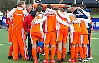 AERDENHOUT - 07-04-2012 - Oranje , zaterdag na de verloren wedstrijd tussen Nederland Jongens A en Engeland Jongens A (3-4), tijdens het Volvo 4-Nations Tournament op de velden van Rood-Wit in Aerdenhout.
