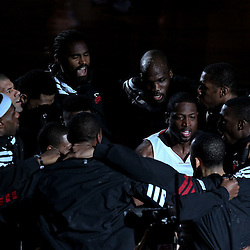 Jun 19, 2012; Miami, FL, USA; Miami Heat shooting guard Dwyane Wade (3) huddles with teammates before the start of game four of the 2012 NBA Finals against the Oklahoma City Thunder at the American Airlines Arena. Mandatory Credit: Derick E. Hingle-US PRESSWIRE