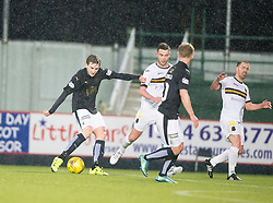 Falkirk's Blair Alston scoring their goal. <br /> Half time : Falkirk 1 v 0 Dumbarton, Scottish Championship game played 26/12/2015 at The Falkirk Stadium.