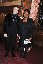 Runner up of TV's X Factor 2012 JAHMENE DOUGLAS and DOREEN LAWRENCE at a reception for the Stephen Lawrence Charitable Trust hosted by the Speaker of The House of Commons John Bercow and supported by law firm Freshfields Bruckhaus Deringer in The State Rooms, Speaker's House, the House of Commons, London on 19th December 2012.
