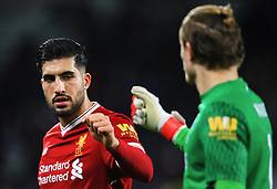 Emre Can of Liverpool fist bumps Loris Karius at half time - Mandatory by-line: Matt McNulty/JMP - 30/01/2018 - FOOTBALL - John Smith's Stadium - Huddersfield, England - Huddersfield Town v Liverpool - Premier League