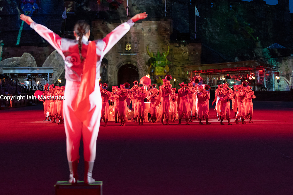 Edinburgh, Scotland, UK. 5 August, 2019.  The Royal Edinburgh Military Tattoo forms part of the Edinburgh International festival. Pictured;  Beijing Marching Wind Band and Cultural Display