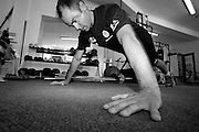 Dan Hugo and Giniel de Villiers complete a gym workout together at Eden Health gym in Stellenbosch. Black and white images by Greg Beadle