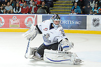 KELOWNA, CANADA, OCTOBER 22: Keith Hamilton #30 of the Victoria Royals makes a save as  the Victoria Royals visited the Kelowna Rockets on October 22, 2011 at Prospera Place in Kelowna, British Columbia, Canada (Photo by Marissa Baecker/shootthebreeze.ca) *** Local Caption ***Keith Hamilton;