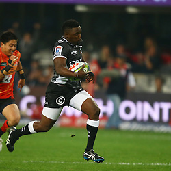 DURBAN, SOUTH AFRICA - JULY 15: Lwazi Mvovo of the Cell C Sharks going over for a try during the Super Rugby match between the Cell C Sharks and Sunwolves at Growthpoint Kings Park on July 15, 2016 in Durban, South Africa. (Photo by Steve Haag/Gallo Images)