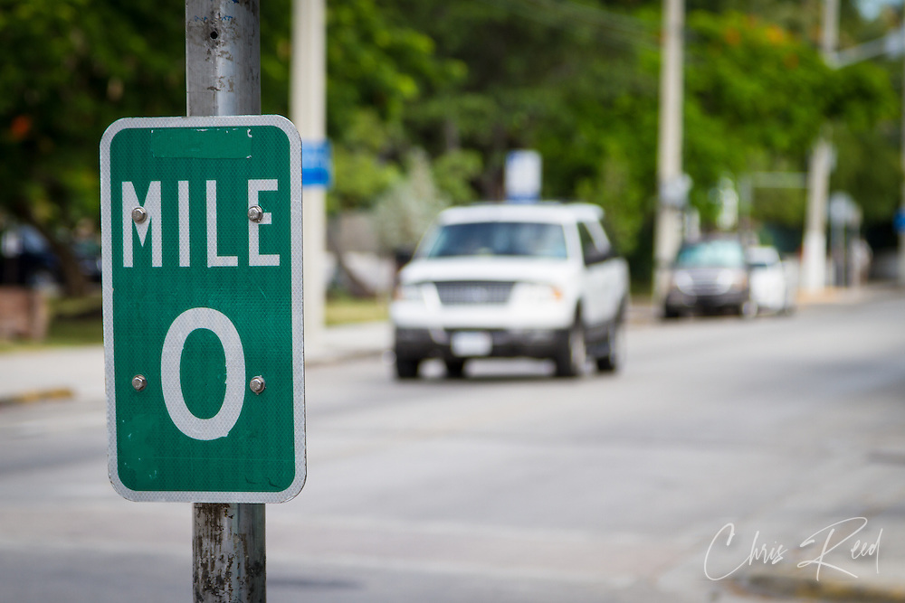 USA, Florida, Key West. Mile Marker 0 on U.S. Route 1.