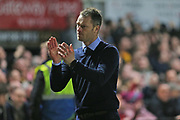 Newport Manager Michael Flynn applauds the crowd after their 1-1 draw today during the The FA Cup 4th round match between Newport County and Tottenham Hotspur at Rodney Parade, Newport, Wales on 27 January 2018. Photo by Gary Learmonth.