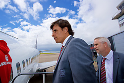 CARDIFF, WALES - Saturday, June 10, 2017: Wales' manager Chris Coleman boards the team plane as the squad depart Cardiff Tesla Airport to travel to Belgrade ahead of the 2018 FIFA World Cup Qualifying Group D match against Serbia. (Pic by David Rawcliffe/Propaganda)