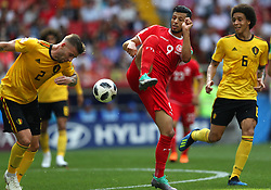 June 23, 2018 - Moscou, Rússia - MOSCOU, MO - 23.06.2018: BÉLGICA Y TÚNEZ - Toby ALDERWEIRELD and Axel WITSEL of Belgium (6) and Anice BADRI of Tunisia during the match between Belgium and Tunisia valid for the 2018 World Cup held at the Otkrytie Arena (Spartak) in Moscow, Russia. (Credit Image: © Rodolfo Buhrer/Fotoarena via ZUMA Press)