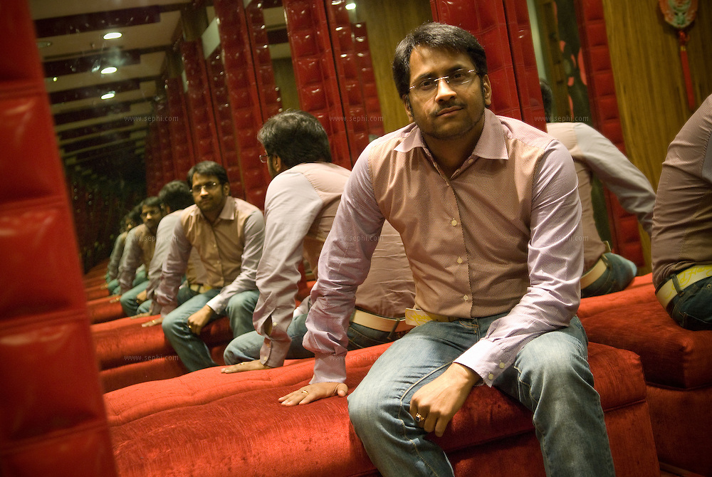 Yogendra Sharma, owner of luxury fashion retail chain Ministry Of Fashion, at the fitting room of the store on the fifth floor of Center Stage Mall in Noida.
