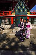 Japan, Tokyo, Asakusa, Senso-ji temple. Local woman in traditional kimono dress