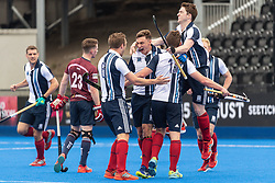Hampstead & Westminster celebrate scoring. Wimbledon v Hampstead & Westminster - Men's Hockey League Finals, Lee Valley Hockey & Tennis Centre, London, UK on 28 April 2018. Photo: Simon Parker