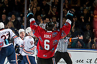 KELOWNA, CANADA - MARCH 9: Kaedan Korczak #6 of the Kelowna Rockets celebrates a goal against the Kamloops Blazers on March 9, 2019 at Prospera Place in Kelowna, British Columbia, Canada.  (Photo by Marissa Baecker/Shoot the Breeze)