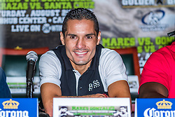 "CARSON, California/USA (Thursday, Aug 22 2013) -WBC Super Bantamweight World Champion Victor ""Vikingo"" Terrazas (37-2-1, 21 KO's), of Guadalajara, addresses the media during the last Mares vs Gonzalez press conference at The SubHub Center in Carson, CA.  PHOTO © Eduardo E. Silva/SILVEXPHOTO.COM."