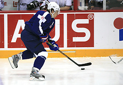 Anze Kopitar of Slovenia at ice-hockey match Slovenia vs Latvia at Preliminary Round (group B) of IIHF WC 2008 in Halifax, on May 06, 2008 in Metro Center, Halifax, Nova Scotia, Canada. Latvia won 3:0. (Photo by Vid Ponikvar / Sportal Images)Slovenia played in old replika jerseys from the year 1966, when Yugoslavia hosted the World Championship in Ljubljana.