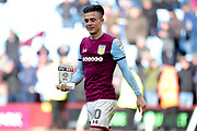 "Aston Villa midfielder Jack Grealish (10) leaves the field holding his ""Skybet"" man of the match trophy during the EFL Sky Bet Championship match between Aston Villa and Birmingham City at Villa Park, Birmingham, England on 11 February 2018. Picture by Dennis Goodwin."