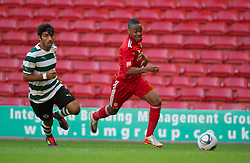 LIVERPOOL, ENGLAND - Wednesday, August 17, 2011: Liverpool's Raheem Sterling in action against Sporting Clube de Portugal during the first NextGen Series Group 2 match at Anfield. (Pic by David Rawcliffe/Propaganda)