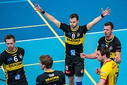 26-10-2019 NED: Talentteam Papendal - Draisma Dynamo, Ede<br /> Round 4 of Eredivisie volleyball - Nico Manenschijn #6 of Dynamo, Freek de Weijer #8 of Dynamo, Jeroen Rauwerink #2 of Dynamo