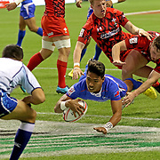 "Manu Samoa's Murphy ""Love You Mom"" Paulo, scored two 2nd half tries in Samoa's victory over Wales, 28-10 on the first day of the Canada 7's at the BC Place, Vancouver, BC, Canada.  Photo by Barry Markowitz 3/10/18"