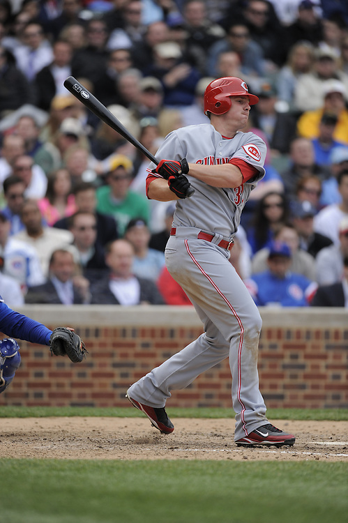 CHICAGO - APRIL 23:  Jay Bruce #32 of the Cincinnati Reds bats against the Chicago Cubs on April 23, 2009 at Wrigley Field in Chicago, Illinois.  The Reds defeated the Cubs 7-1.  (Photo by Ron Vesely)