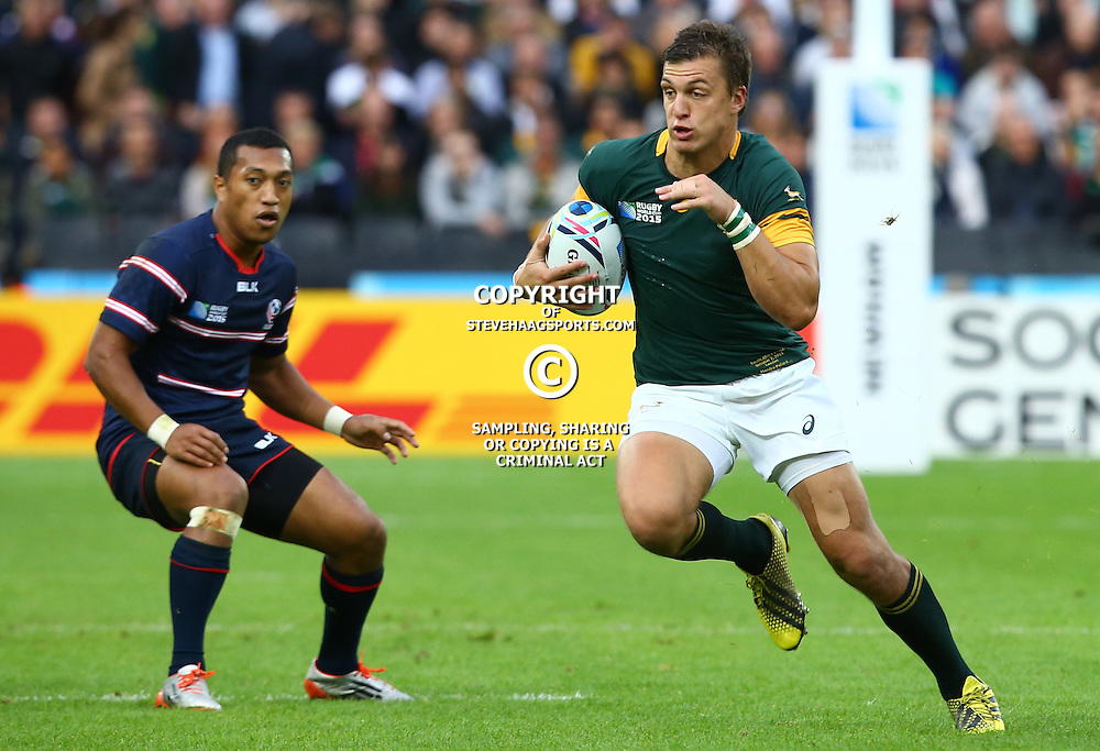 LONDON, ENGLAND - OCTOBER 07: Handre Pollard of South Africa during the Rugby World Cup 2015 Pool B match between South Africa and United States of America at The Stadium, Queen Elizabeth Olympic Park on October 07, 2015 in London, England. (Photo by Steve Haag/Gallo Images)