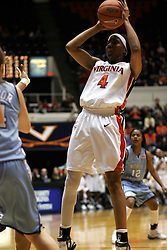 Siedah Williams (4) shoots the ball against UNC.  Williams had 14 points and 9 rebounds for the Hoos.  UVA lost the game 72-60.