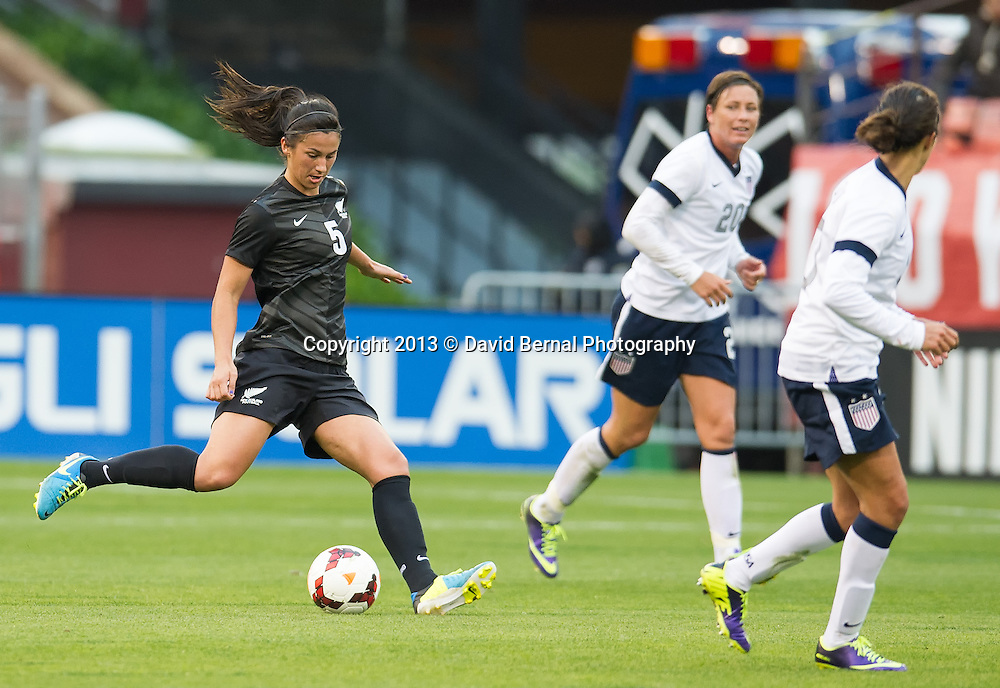 New Zealand's Abby Erceg, captain of the Football Ferns - SAN FRANCISCO, CA - October 27, 2013:  The US Women's National Team vs New Zealand match in Candlestick Park in San Francisco, CA. Final score US Women's National Team 4, New Zealand 1.
