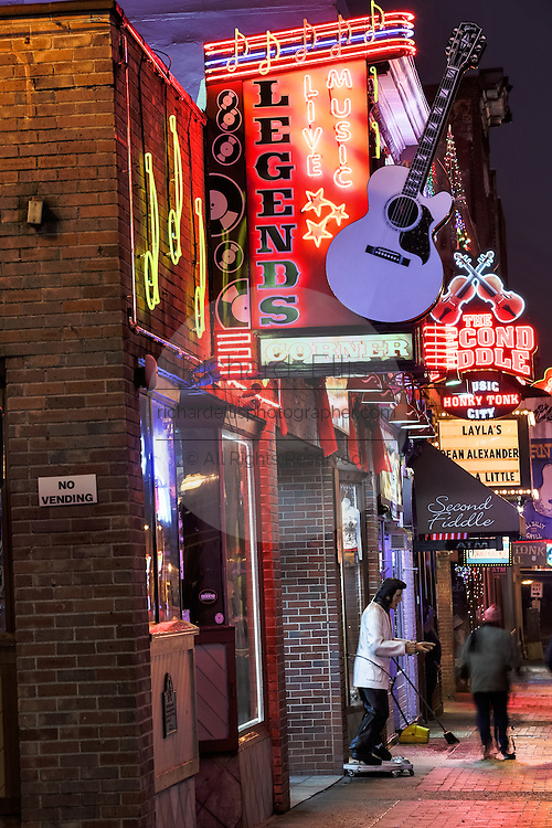 Neon signs for Tootsies, Legends Corner and other honky-tonks on lower Broadway in Nashville, TN.