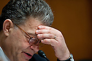 "Senator AL FRANKEN (D-MN) listens to testimony during a Senate Privacy, Technology and the Law Subcommittee hearing on ""Protecting Mobile Privacy"" on Capitol Hill on Monday."