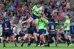 March 1, 2019 - Victoria, VIC, U.S. - MELBOURNE, AUSTRALIA - MARCH 01: Tom Franklin (19) of the Highlanders jumps for the ball at The Super Rugby match between Melbourne Rebels and Highlanders on March 01, 2019 at AAMI Park, VIC. (Photo by Speed Media/Icon Sportswire) (Credit Image: © Speed Media/Icon SMI via ZUMA Press)