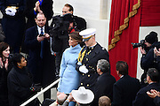 Melania Trump is escorted during the arrival for the 68th President Inaugural Ceremony on Capitol Hill January 20, 2017 in Washington, DC. Donald Trump became the 45th President of the United States in the ceremony.