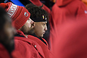 Jan 20, 2019; Kansas City, MO, USA; Kansas City Chiefs quarterback Patrick Mahomes (15) looks on during the AFC Championship game at Arrowhead Stadium. The Patriots defeated the Chiefs 37-31 in overtime to advance to their fifth Super Bowl in eight seasons. (Robin Alam/Image of Sport)