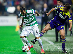 Jefferson of Sporting vs Mitja Viler of Maribor during football match between NK Maribor and Sporting Lisbon (POR) in Group G of Group Stage of UEFA Champions League 2014/15, on September 17, 2014 in Stadium Ljudski vrt, Maribor, Slovenia. Photo by Vid Ponikvar  / Sportida.com