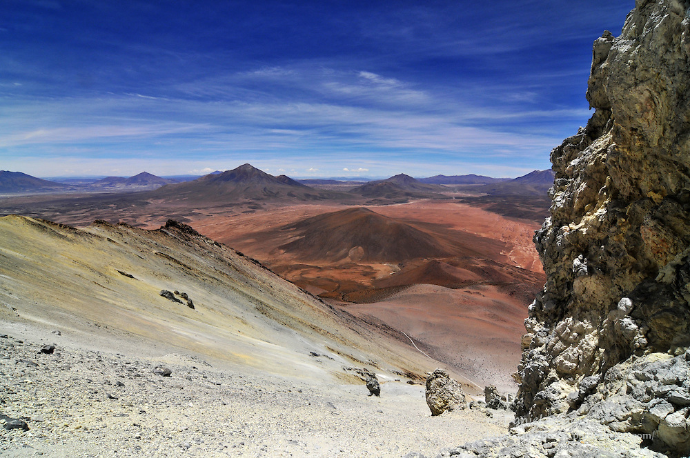 Southern Bolivia altiplano from 18,200 feet up Volcan Ollague