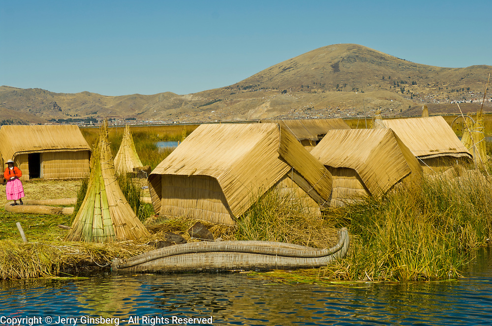 Homes made of reeds on the Uros Islands in Lake Titicaca, Peru.