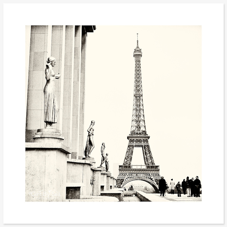 La Tour Eiffel, Paris, France - Monochrome version. Inkjet pigment print on Canson Infinity Rag Photographique 310gsm 100% cotton museum grade Fine Art and photo paper.<br /> <br /> 8x8&quot; Prints: First print $49. Additional prints in same order $29. (A half inch white border is added for safe handling. Size with border 9x9&rdquo;).<br /> <br /> Frame-Ready Prints: Add $29 per print. Includes mounting on 12x12&rdquo; foam-board, plus white matboard with 8x8&rdquo; photo opening. Suits standard 12x12&rdquo; frames.<br /> <br /> Price includes GST &amp; postage within Australia. <br /> <br /> Order by email to orders@girtbyseaphotography.com  quoting image title or reference number, your contact details, delivery address &amp; preferred payment method (PayPal or Bank Deposit). You will be invoiced by return email. Normally ships within 7 days of payment.