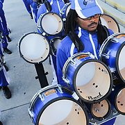 Members of the Elizabeth City State University wait to enter the arena  Saturday January 19, 2015 during the Historically Black College and University Experience at the Schwartz Center on the Campus of Cape Fear Community College in Wilmington, N.C. (Jason A. Frizzelle)