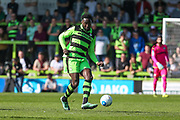 Forest Green Rovers Manny Monthe(3) on the ball during the Vanarama National League Play Off second leg match between Forest Green Rovers and Dagenham and Redbridge at the New Lawn, Forest Green, United Kingdom on 7 May 2017. Photo by Shane Healey.