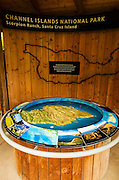 Interpretive display at Scorpion Ranch, Santa Cruz Island, Channel Islands National Park, California USA