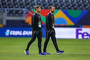 England Head Coach Gareth Southgate walks out during the England walk around the pitch ahead of the Nations League Semi-Final against Holland at Estadio D. Afonso Henriques, Guimaraes, Portugal on 5 June 2019.