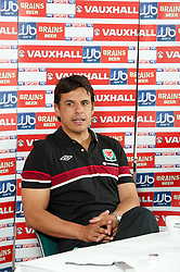 CARDIFF, WALES - Tuesday, August 14, 2012: Wales' manager Chris Coleman during a press conference ahead of the international friendly match against Bosnia-Herzegovina. (Pic by David Rawcliffe/Propaganda)