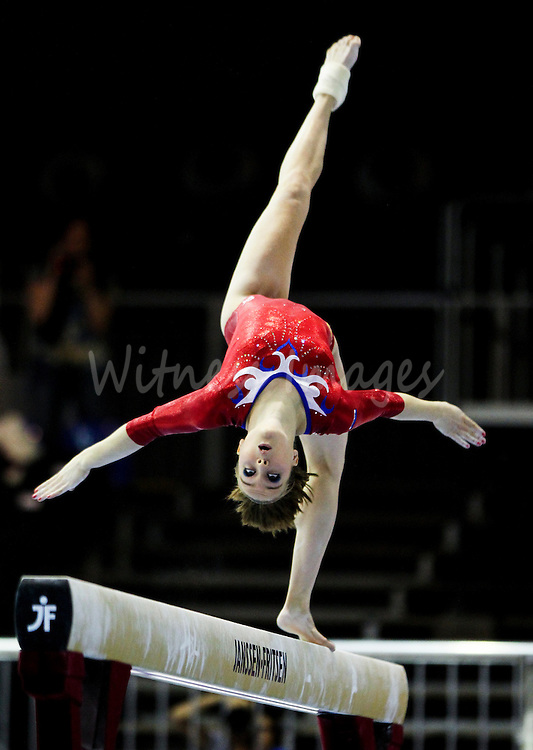 Dutch Celine Van Gerner competes on the beam during the qualification round of the Women Artistic Gymnastics European Championships in Brussels, Belgium, 10 Mail 2011.